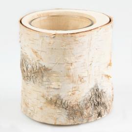 Vase photophore rondin écorce bouleau