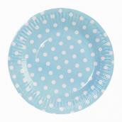 Assiettes bleues pois blancs