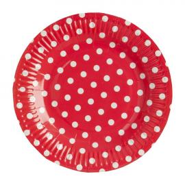 Assiettes rouges pois blancs