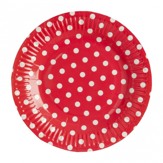 Assiettes rouges pois blancs