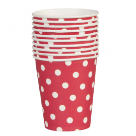 Gobelets rouges pois blancs - Lot de 10