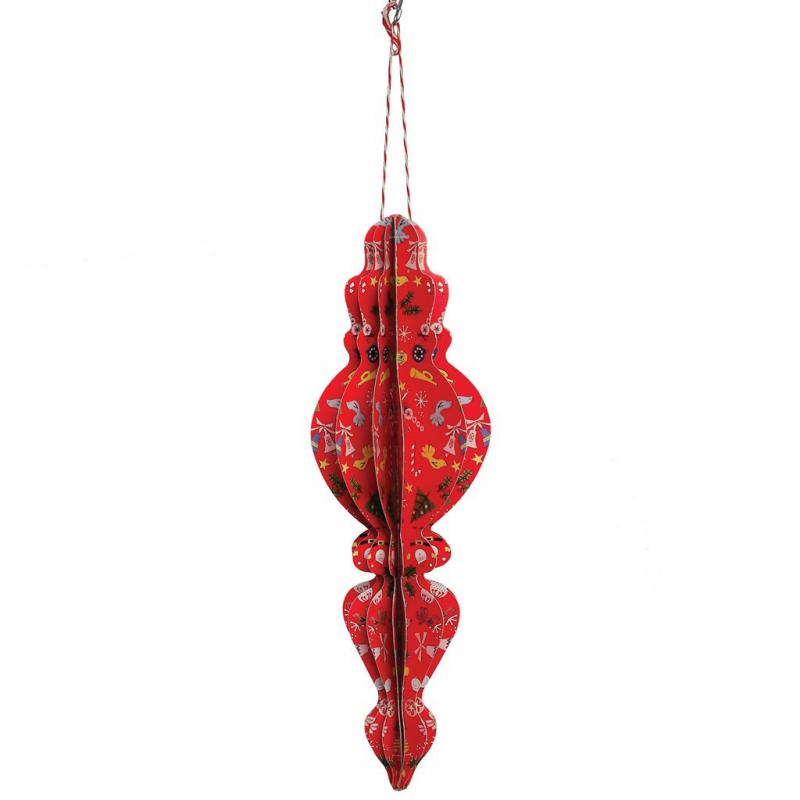 d coration noel pampille rouge papier decor noel vintage. Black Bedroom Furniture Sets. Home Design Ideas