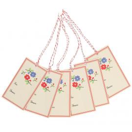 Etiquettes cadeaux fleurettes rétro - set de 6