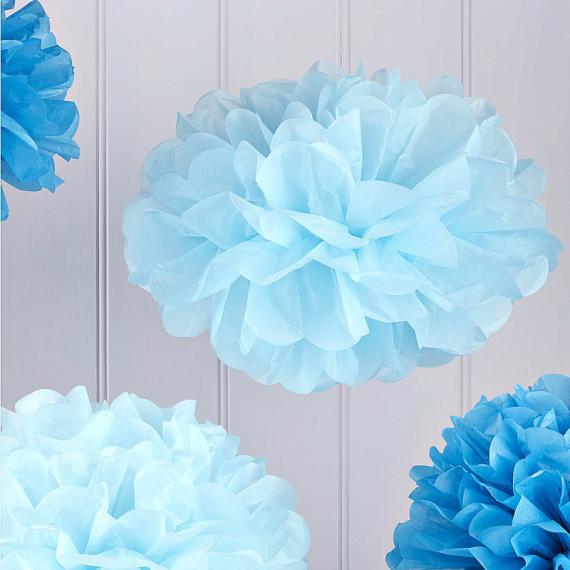 Pompoms mix bleus