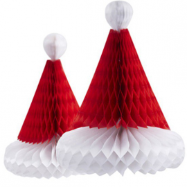 Décorations papier bonnet noël - Lot de 2