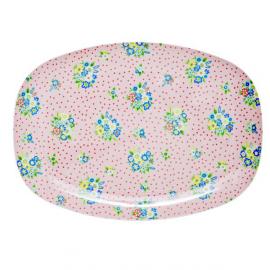 Assiette plateau mélamine dots & fleurettes