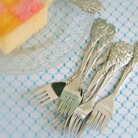 Fourchettes à gâteaux tea time - Lot de 12