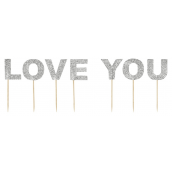 Cake topper set deco paillettes Love You
