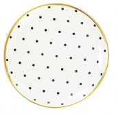 Assiette porcelaine pois noirs filet or