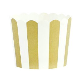 Caissettes cupcake rayures or - Lot de 24