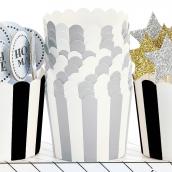 Caissettes cupcake rayures argent - Lot de 24