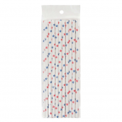 Pailles papier étoiles mix red & blue - Lot de 20