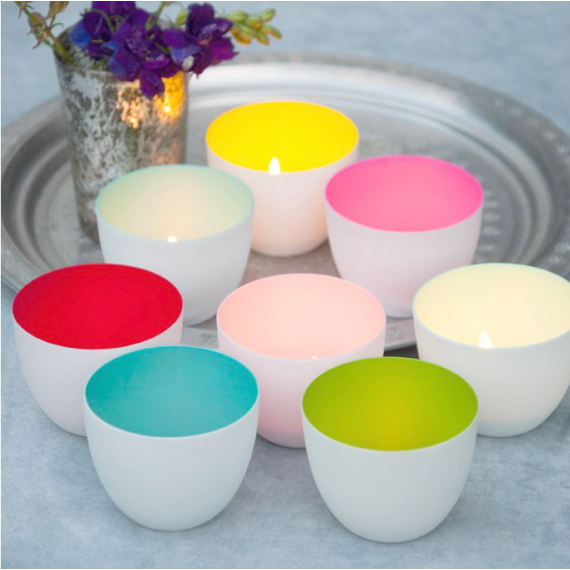 Photophores porcelaine pop color - Lot de 8