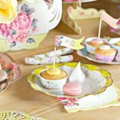 Assiettes gâteaux fleurs vintage