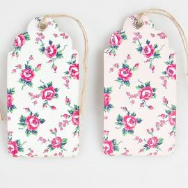 Etiquettes petites roses - Lot de 15