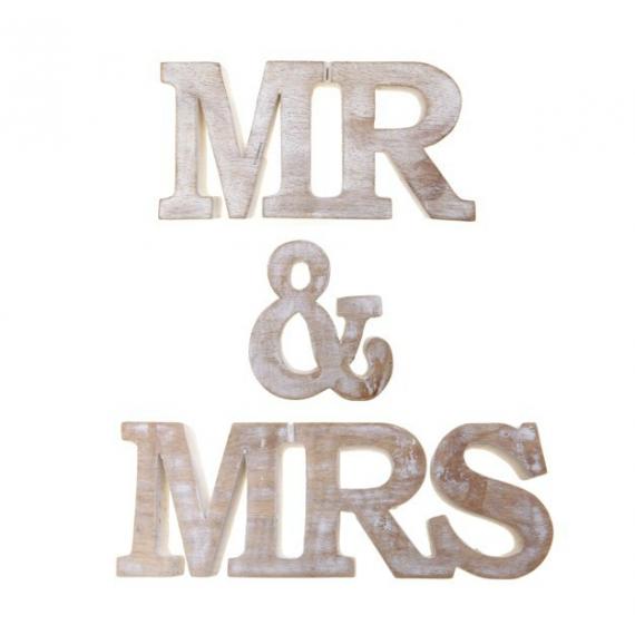 Lettres bois patiné Mr & Mrs