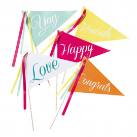 Drapeaux fanions Be happy - Lot de 10