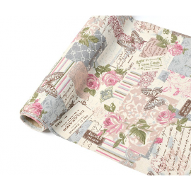 Chemin de table toile shabby patch rétro