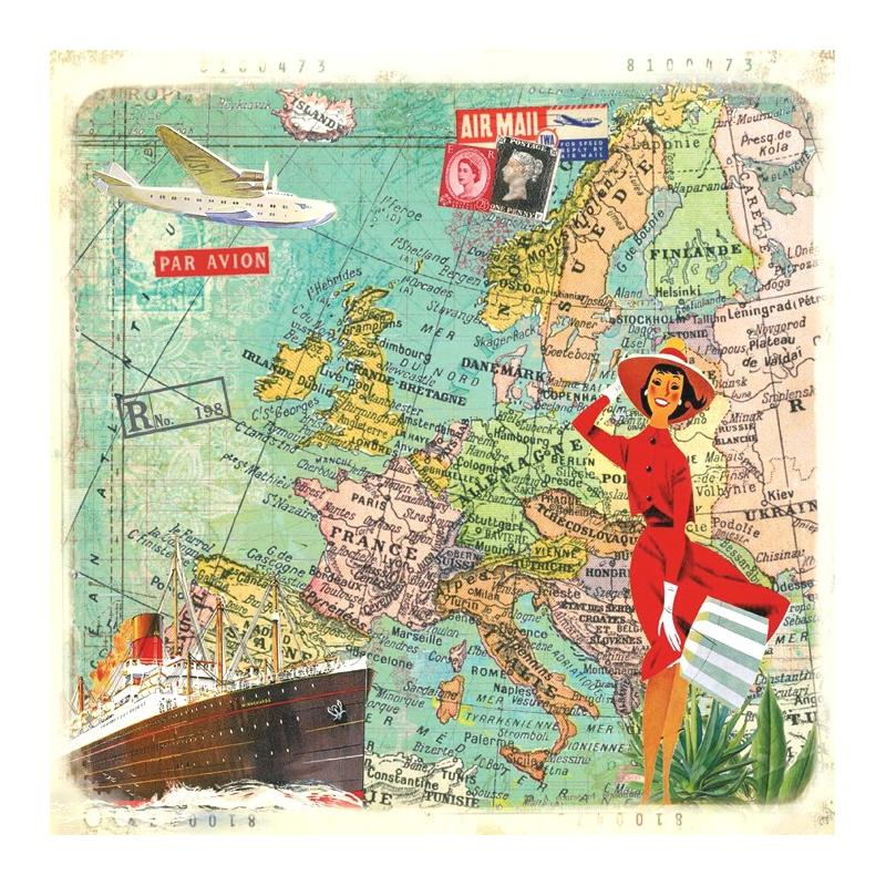 decoration de table serviettes papier voyages vintage