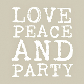 Serviettes papier love, peace & party taupe - Lot de 20