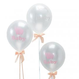 Ballons baby Dumbo rose et nuage