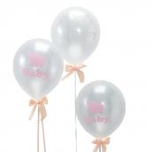 Ballons baby Dumbo rose et nuage - Lot de 10