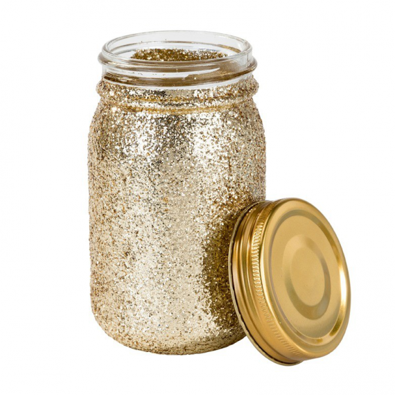 Pot bocal style Mason jar paillettes or