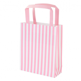 Sacs shopping rayures roses - Lot de 8