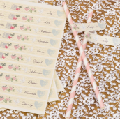 Stickers pailles drapeaux love shabby - Lot de 30