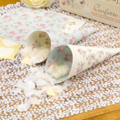 Cônes confettis love shabby - Lot de 10