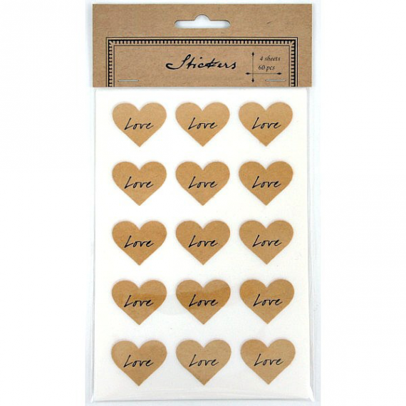 Stickers coeur kraft Love - Lot de 60