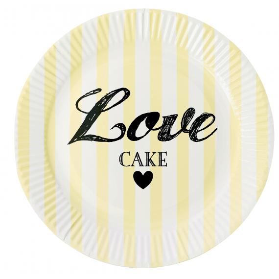 Assiettes Love rayures jaunes