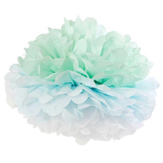 Grand pompom papier dégradé vert bleu
