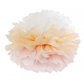 Grand pompom papier dégradé rose pêche