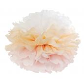 Grand pompom papier dégradé rose pêche