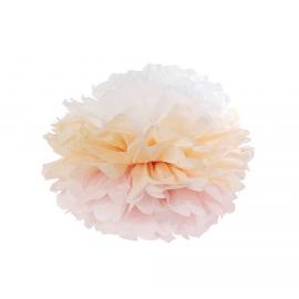 Pompom papier dégradé rose pêche
