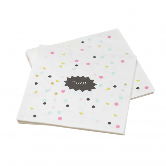 Serviettes papier confettis party - Lot de 20