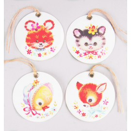Etiquettes rétro lovely animals - Lot de 12