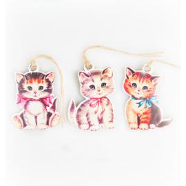 Etiquettes rétro pussy cats - Lot de 12