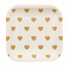 Assiettes carrées semi coeur or