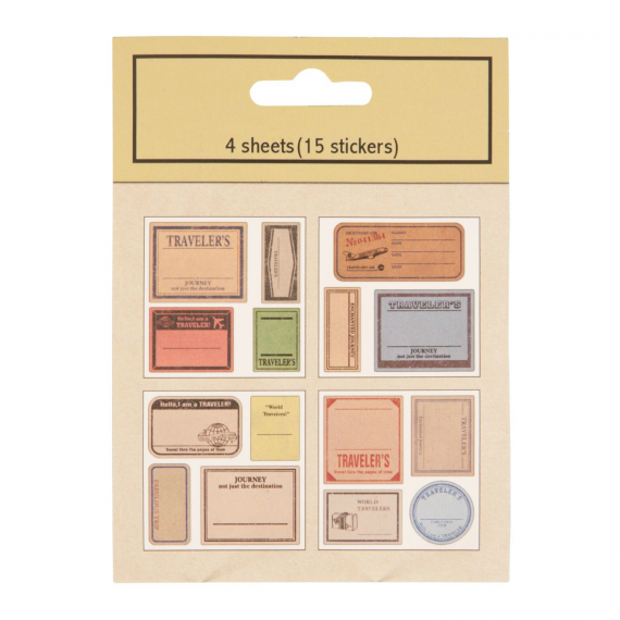 Stickers valises vintage - Lot de 15