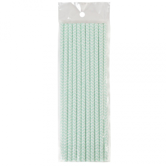 Pailles papier chevrons menthe - Lot de 20
