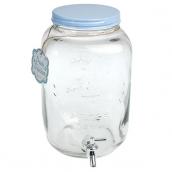 Distributeur verre vintage top bleu