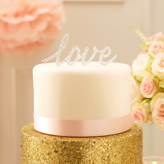 Cake topper Love paillettes argent