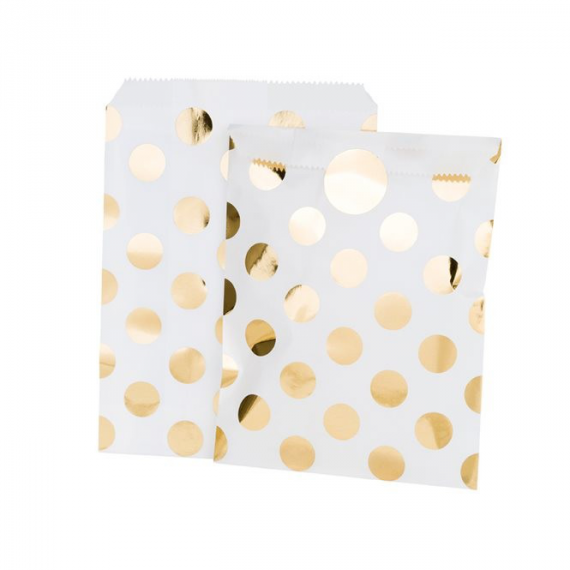 Sachets blancs pois or et stickers -