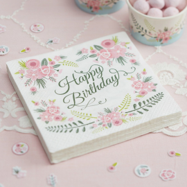 Serviettes Happy Birthday fleurs trendy - Lot de 20