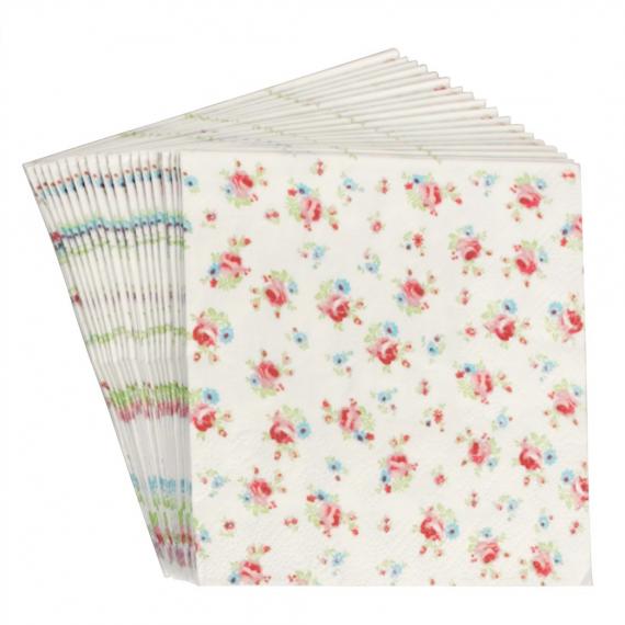 Serviettes papier petites roses - Lot de 20