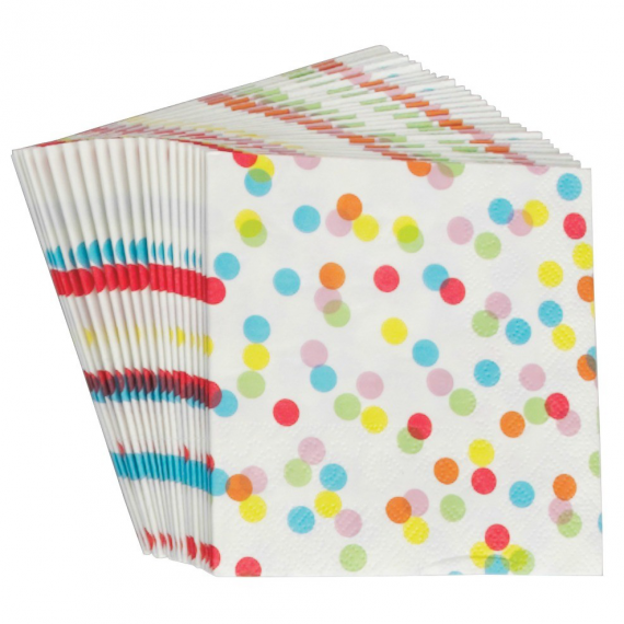 Serviettes papier color confettis - Lot de 20