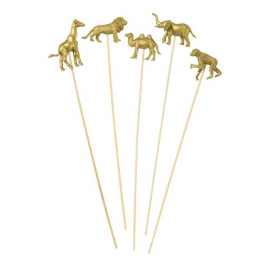 Piques animaux gold party - Lot de 8