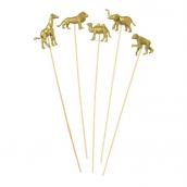 Piques animaux gold party - Lot de 8